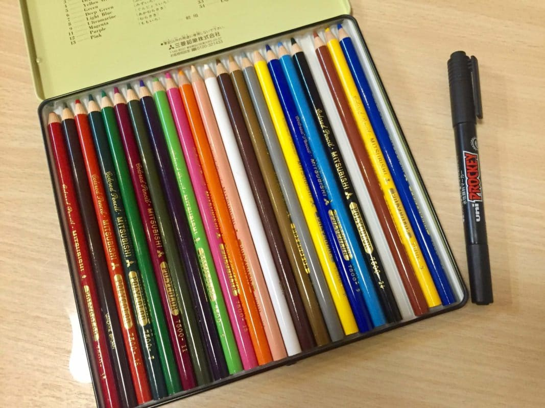 色鉛筆とプロッキー