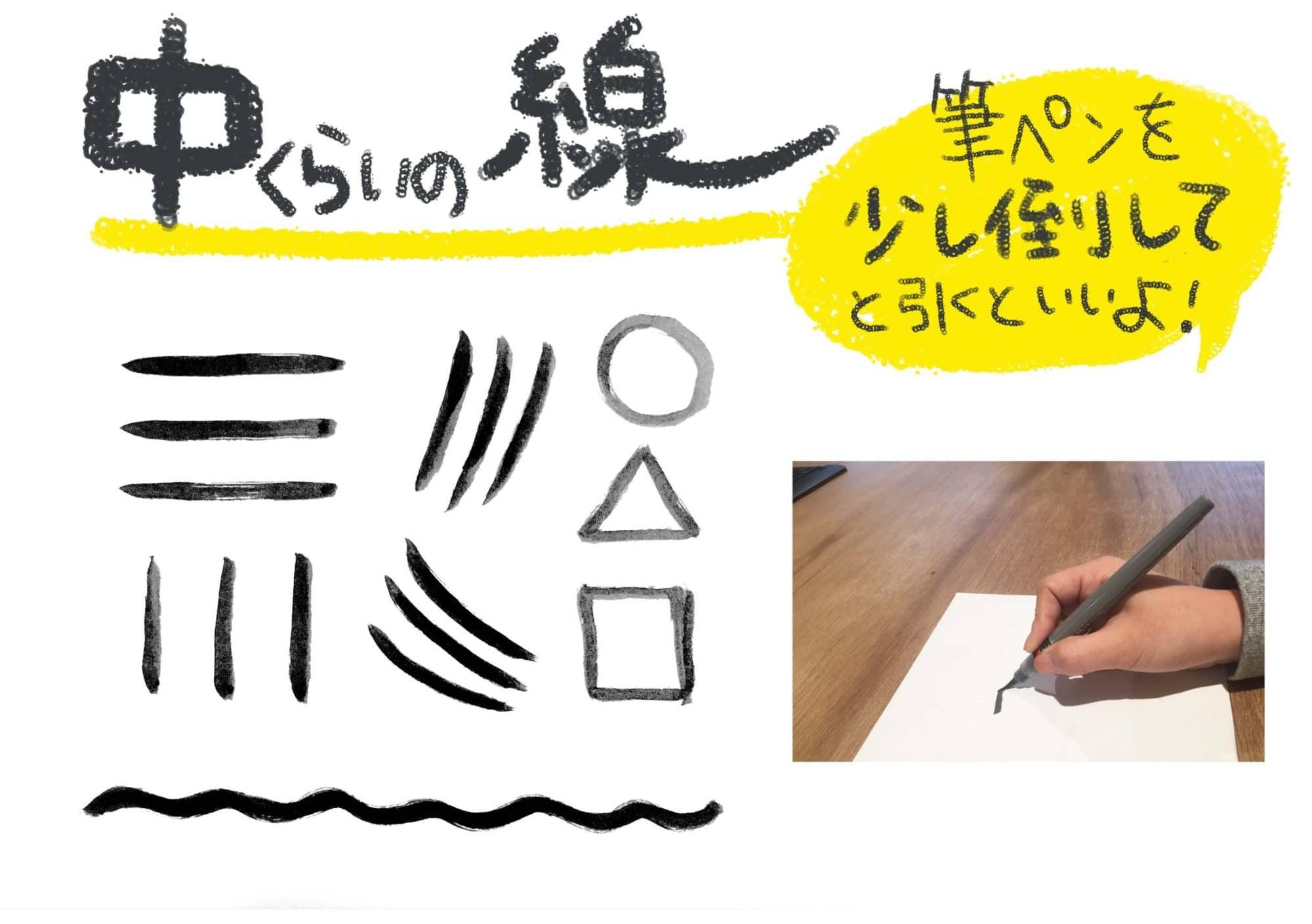 筆ペンの線